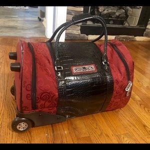 Brighton Rolling Luggage Duffel Bag Leather Duffle
